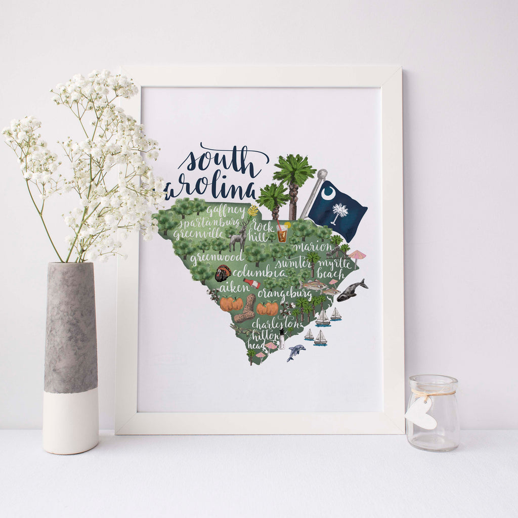 photograph relating to Printable Map of South Carolina titled South Carolina Region Map Artwork Print